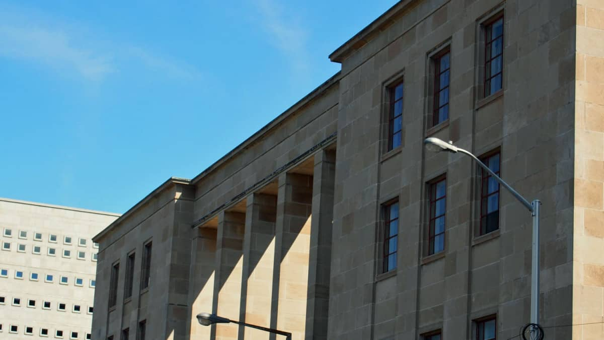 West Memorial Building, west elevation colonnade open to the interior courtyard of this U-shaped building